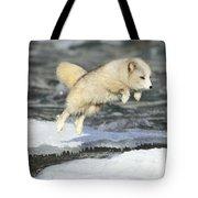 Arctic Fox Jumping Tote Bag