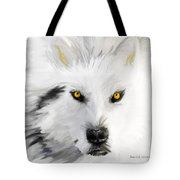 Arctic Wolf With Yellow Eyes Tote Bag