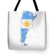 Argentina Painted Flag Map Tote Bag