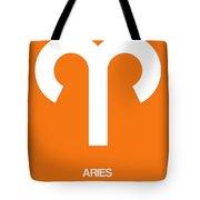 Aries Zodiac Sign White On Orange Tote Bag
