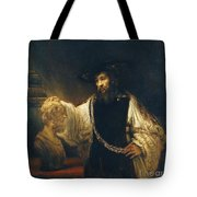 Aristotle With Bust Of Homer Tote Bag