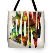 Arizona Typographic Watercolor Map Tote Bag