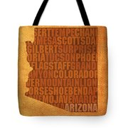 Arizona Word Art State Map On Canvas Tote Bag