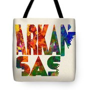 Arkansas Typographic Watercolor Map Tote Bag