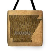 Arkansas Word Art State Map On Canvas Tote Bag