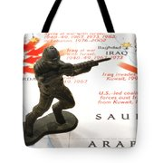 Army Man Standing On Middle East Conflicts Map Tote Bag