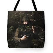 Army Soldier With Security Screen Saver Tote Bag