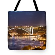 Arrabida Bridge At Night In Porto And Gaia Tote Bag