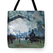 Arrival Of The Normandy Train Gare Saint-lazare Tote Bag