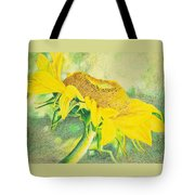Sunflower Print Art For Sale Colored Pencil Floral Tote Bag