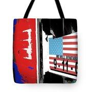 Art Homage Jasper Johns American Flag 9-11-01 Memorial Collage Barber Shop Eloy Az 2004-2012 Tote Bag