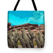 Art No 1901 American Landscape Cactus Stone Mountains And Skyview By Navinjoshi Artist Toronto Canad Tote Bag