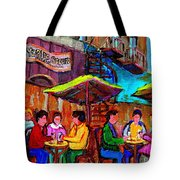 Art Of Montreal Enjoying A Pint At Ye Olde Orchard Irish Pub And Grill Monkland Village Cafe Scenes Tote Bag
