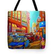 Art Of Montreal Summer Street Scenes Of Quebec With Caleche Near Cafes On Cobblestones Old Montreal Tote Bag