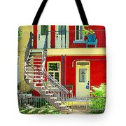 Art Of Montreal Upstairs Porch With Summer Chair Red Triplex In Verdun City Scene C Spandau Tote Bag