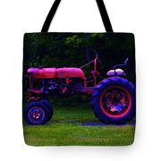 Artful Tractor In Purples Tote Bag