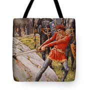 Arthur Draws The Sword From The Stone Tote Bag by Walter Crane