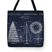 Artifical Christmas Tree Patent From 1927 - Navy Blue Tote Bag