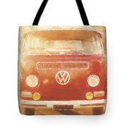 Artistic Digital Drawing Of A Vw Combie Campervan Tote Bag