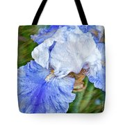 Artistic Japanese Iris Blue And White Flower Tote Bag