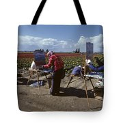 Artists Painting Tulip Fields Standing In A Row  Tote Bag