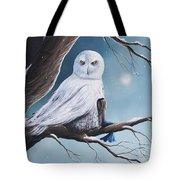 White Snow Owl Painting Tote Bag