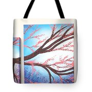 Asian Bloom Triptych Tote Bag