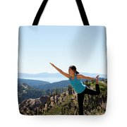 Asian Woman Practicing Yoga Outdoors Tote Bag