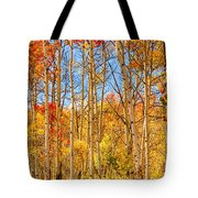 Aspen Fall Foliage Portrait Red Gold And Yellow  Tote Bag