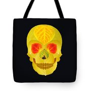 Aspen Leaf Skull 4 Black Tote Bag
