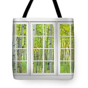 Aspen Tree Forest Autumn Time White Window View  Tote Bag by James BO  Insogna