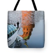 At The Background Of Moscow Kremlin - Featured 3 Tote Bag