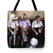 At The Bus Station Tote Bag