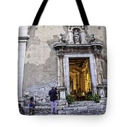 At The Church - Child's Curiosity - Sicily Tote Bag