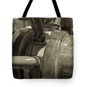 At The Helm Black And White Sepia Tote Bag