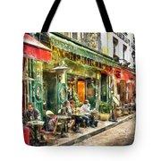 At The Restaurant In Paris Tote Bag