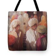 At The Temple Entrance, 2012 Acrylic On Canvas Tote Bag