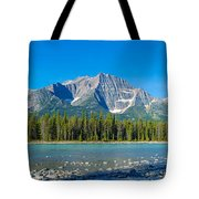 Athabasca River With Mountains Tote Bag