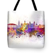 Athens - Oh Skyline In Watercolor Background Tote Bag