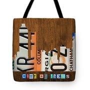 Atlanta Georgia City Skyline Vintage License Plate Art On Wood Tote Bag by Design Turnpike