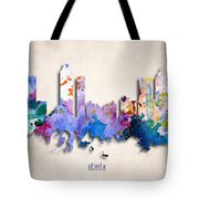 Atlanta Painted City Skyline Tote Bag