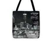 Atlanta Panoramic Black And White Tote Bag