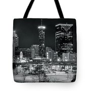 Atlanta Panoramic Black And White Tote Bag