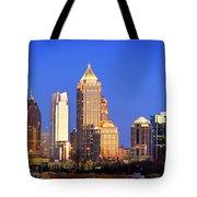 Atlanta Skyline At Dusk Midtown Color Panorama Tote Bag