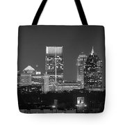 Atlanta Skyline At Night Downtown Midtown Black And White Bw Panorama Tote Bag by Jon Holiday