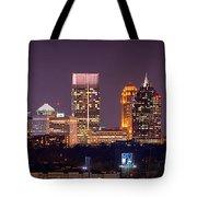 Atlanta Skyline At Night Downtown Midtown Color Panorama Tote Bag by Jon Holiday