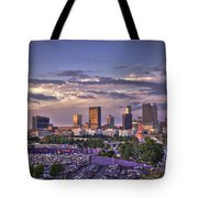 Atlanta Sunset Fulton County Stadium Braves Game  Tote Bag