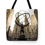 Atlas At Rockefeller Center Back Side Tote Bag