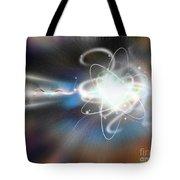 Atom Collision Tote Bag by Mike Agliolo