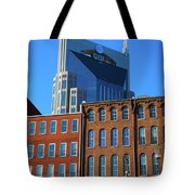 At&t Building And Historic Red Brick Tote Bag